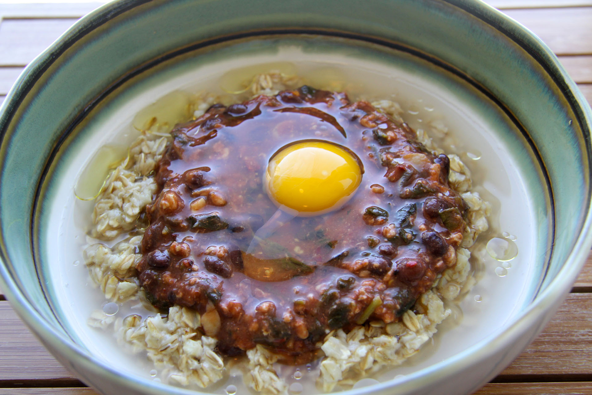 Blackbean Turkey Stew over Oatmeal - Fangalicious