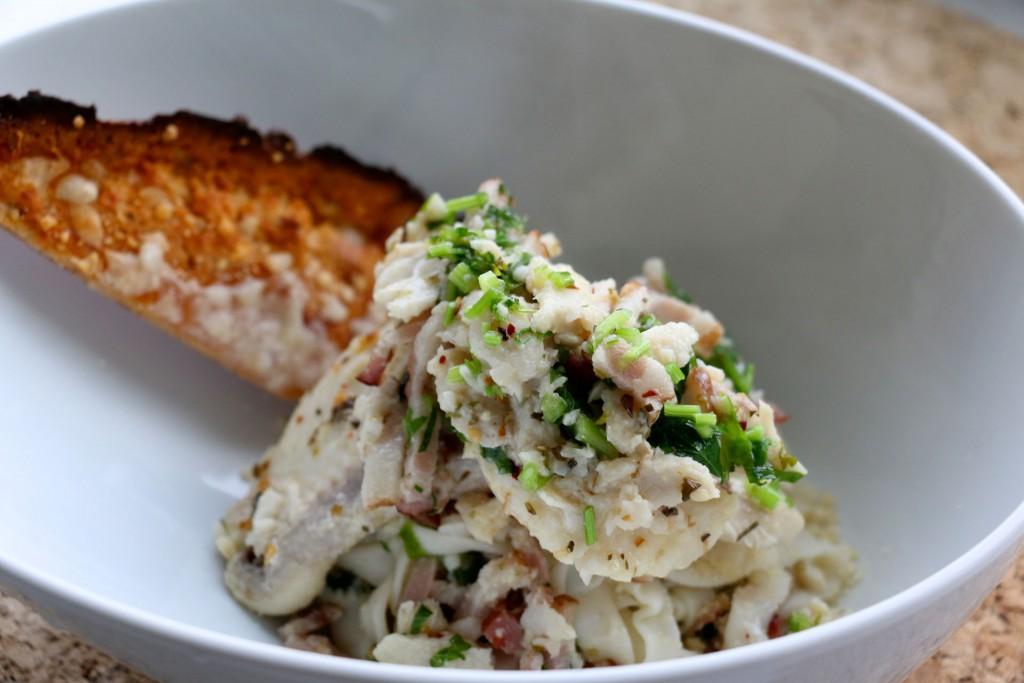 Shirataki Noodles with Bacon Cream Sauce with Sand Dabs  (Keto Friendly)