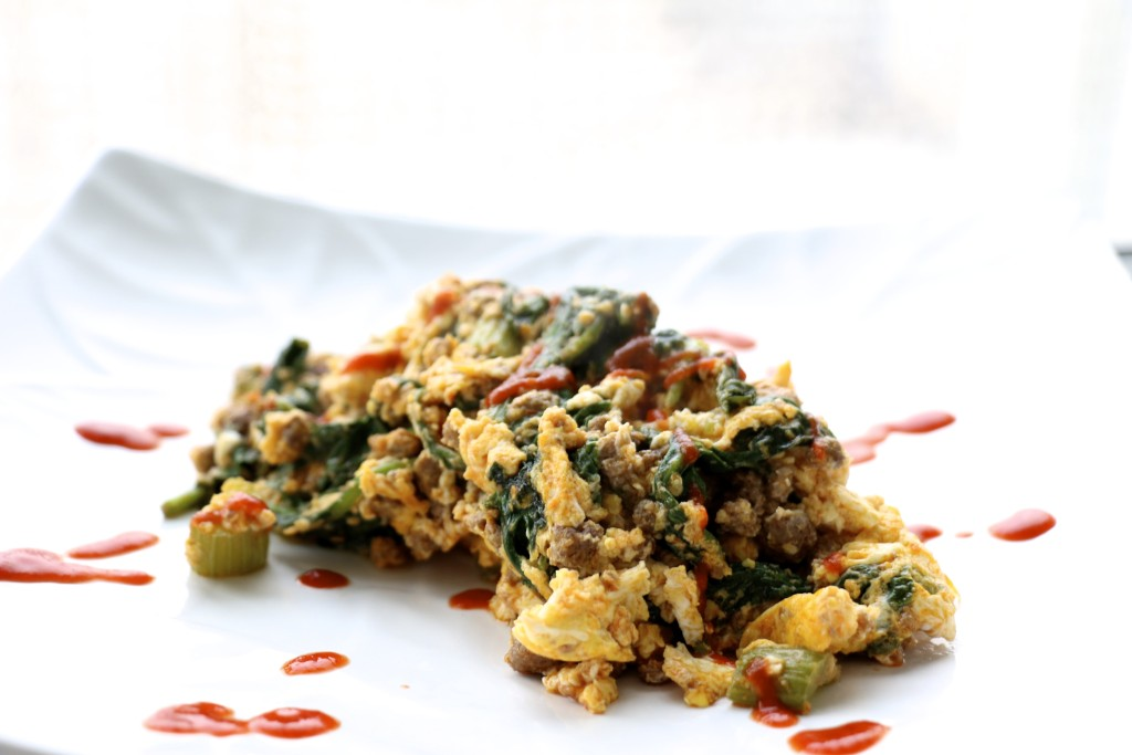 Lamb Scramble with Celery and Spinach